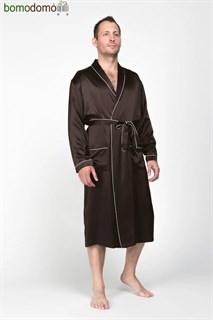 Мужской шелковый халат Luxe Dream Премиум шоколад, р-р XL (50-52)