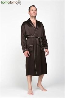 Мужской шелковый халат Luxe Dream Премиум шоколад, р-р XXL (52-54)