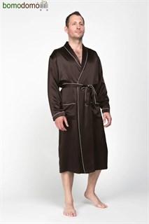 Мужской шелковый халат Luxe Dream Премиум шоколад, р-р XXXL (54-56)