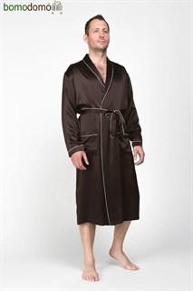 Мужской шелковый халат Luxe Dream Премиум шоколад, р-р XXXXL (56-58)
