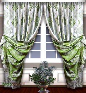 Готовые шторы Блэкаут-жаккард Корона белый/зеленый