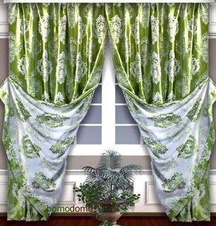 Готовые шторы Блэкаут-жаккард Корона зеленый/белый
