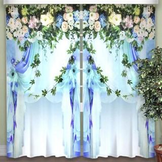 Фотошторы 3D Экзотические Цветы голубые