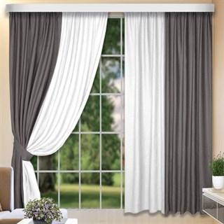 Комбинированные шторы Софт-Дуэт серый/белый