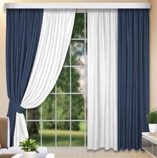Комбинированные шторы Софт-Дуэт синий/белый