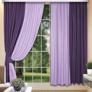 Комбинированные шторы Софт-Дуэт сиреневый/фиолетовый