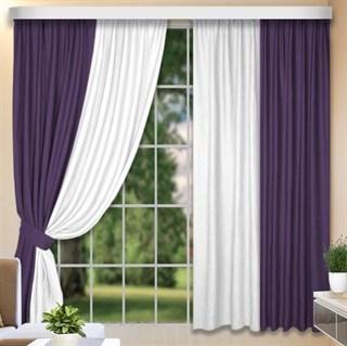 Комбинированные шторы Софт-Дуэт фиолетовый/белый