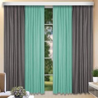 Комбинированные шторы Софт-Дуэт серый/бирюза
