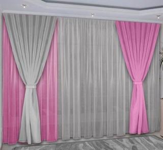 Комбинированные шторы Нурисса серо-розовые