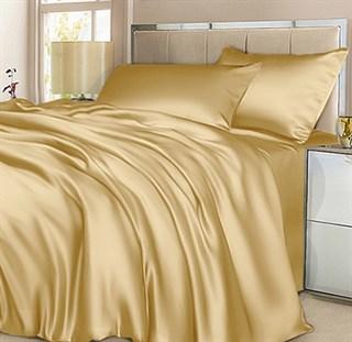 Шелковое постельное белье Shampagne евро в простыней на резинке