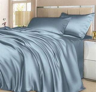 Шелковое постельное белье Sensa голубое евро