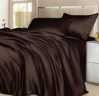 Шелковое постельное белье Chocolate евро с простыней на резинке