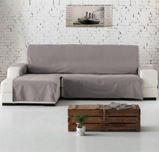 KANSAS Накидка на угловой диван c оттоманкой слева серая