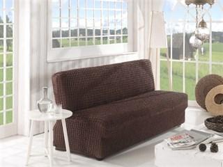 BRAUN Чехол на 2-х местный диван без подлокотников от 120 до 160 см коричневый