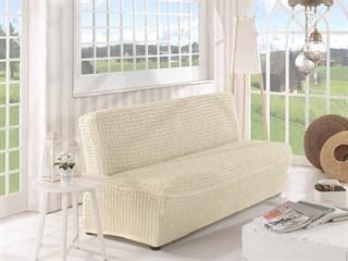 CREAM Чехол на 2-х местный диван без подлокотников от 120 до 160 см молочный