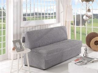 GREY Чехол на 2-х местный диван без подлокотников от 120 до 160 см серый