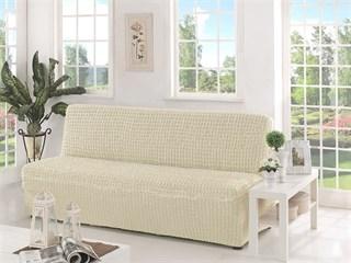 CREAM Чехол на 3-х местный диван без подлокотников от 170 до 220 см молочный