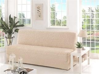 NATURAL Чехол на 3-х местный диван без подлокотников от 170 до 220 см сливочный