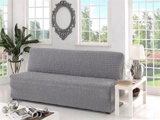 GREY Чехол на 3-х местный диван без подлокотников от 170 до 220 см серый