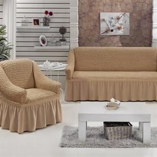 Натяжные чехлы на диван и 2 кресла бежевые