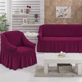 FUCHSIA Набор чехлов на диван и 2 кресла бургундский