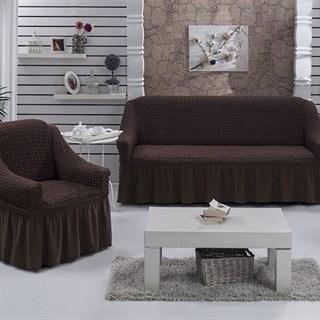 Натяжные чехлы на диван и 2 кресла коричневые