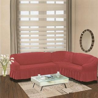 DARK ROSE Чехол на классический угловой диван от 350 до 470 см правосторонний кораллово-розовый