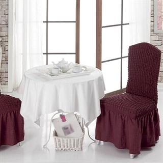 BORDO Чехлы на стулья со спинкой (2 шт.) бордовые