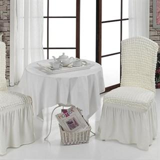 CREAM Чехлы на стулья со спинкой (2 шт.) молочные