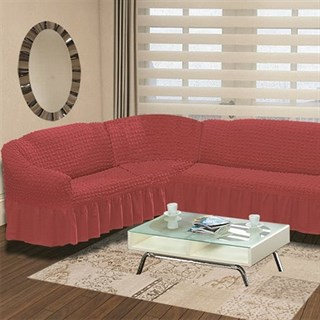 DARK ROSE Чехол на классический угловой диван от 350 до 470 см левосторонний кораллово-розовый