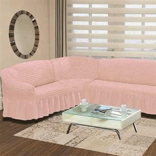 ROSE Чехол на классический угловой диван от 350 до 470 см левосторонний розовый