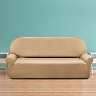 НАТУРЕ БЕЖ Чехол на 4-х местный диван от 230 до 270 см