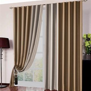 Готовые шторы Блэкаут Амалия золотисто-коричневые