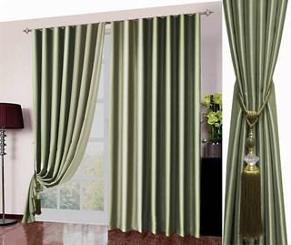 Готовые шторы Блэкаут Амалия оливково-зеленые