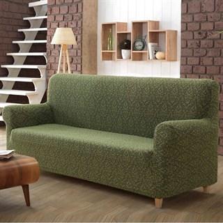 Европейский чехол на 3-х местный диван зеленый жаккард