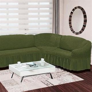GREEN Чехол на классический угловой диван от 350 до 470 см правосторонний зеленый