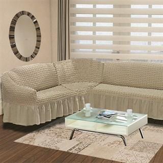 COFFEE Чехол на классический угловой диван от 350 до 470 см левосторонний капуччино