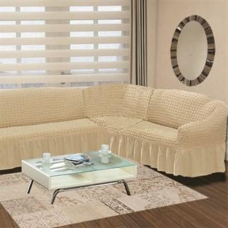 NATURAL Чехол на классический угловой диван от 350 до 470 см правосторонний сливочный