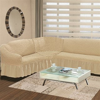 NATURAL Чехол на классический угловой диван от 350 до 470 см левосторонний сливочный
