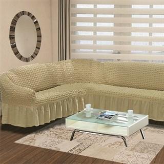 BEIGE Чехол на классический угловой диван от 350 до 470 см левосторонний бежевый