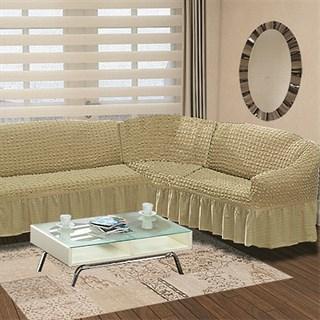BEIGE Чехол на классический угловой диван от 350 до 470 см правосторонний бежевый