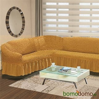 MUSTARD Чехол на классический угловой диван от 350 до 470 см левосторонний горчичный