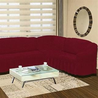 BORDO Чехол на классический угловой диван от 350 до 470 см правосторонний бордовый