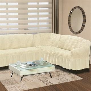 CREAM Чехол на классический угловой диван от 350 до 470 см правосторонний молочный