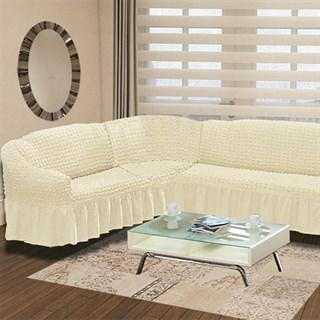 CREAM Чехол на классический угловой диван от 350 до 470 см левосторонний молочный