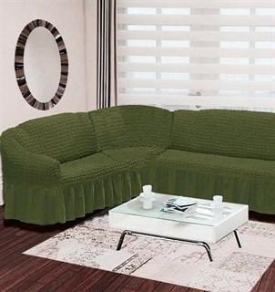 GREEN Чехол на классический угловой диван от 350 до 470 см левосторонний зеленый
