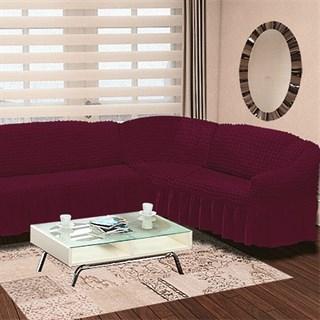 Fuchsia Чехол на классический угловой диван от 350 до 470 см правосторонний бургундский