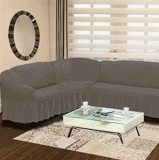 GREY Чехол на классический угловой диван от 350 до 470 см левосторонний серый