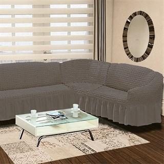 GREY Чехол на классический угловой диван от 350 до 470 см правосторонний серый