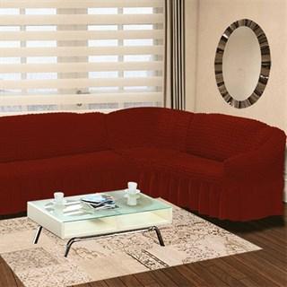 TERRACOTA Чехол на классический угловой диван от 350 до 470 см правосторонний кирпичный